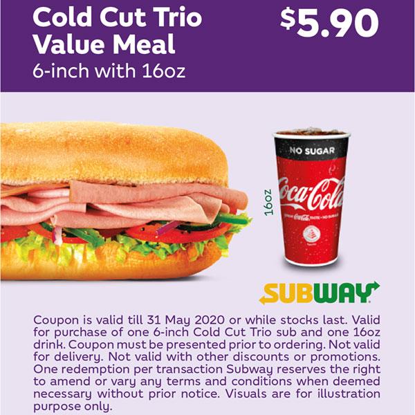 Subway Coupon Deals till 31 May 2020