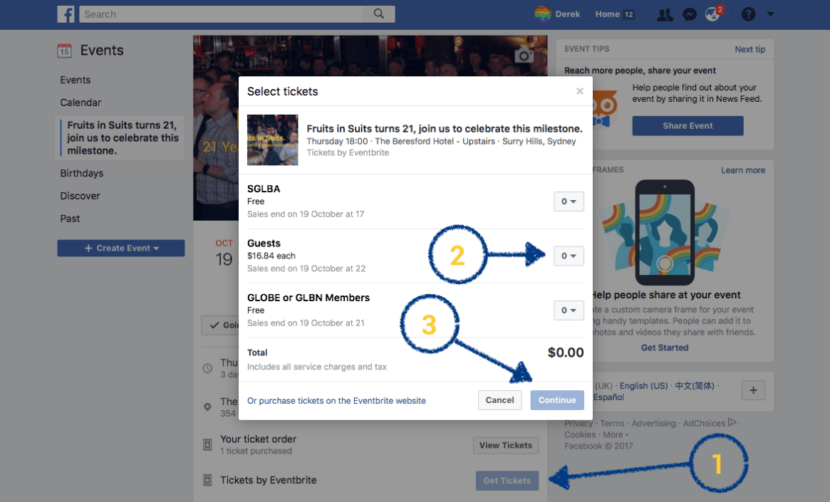 Facebook Eventbrite Plugin Screen Shot