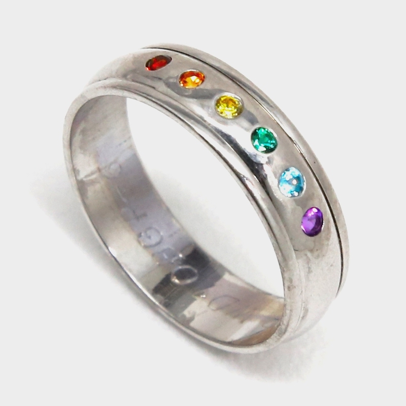 SQUARE Gaydesign by Michele Female Rainbow wedding ring silved edged 800x800pxl