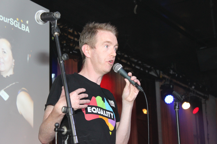 Tiernan Brady is an Irish political and LGBTIQ rights campaigner who was involved in the campaigns to allow same-sex marriage in Ireland and Australia  - January 2017 Fruits in Suits at Upstairs Beresford.