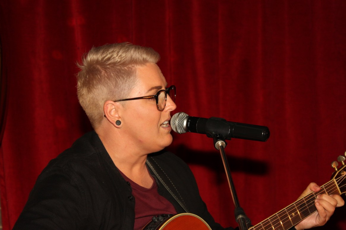 Kim Sheehy, from the She Collective, performed live on stage.