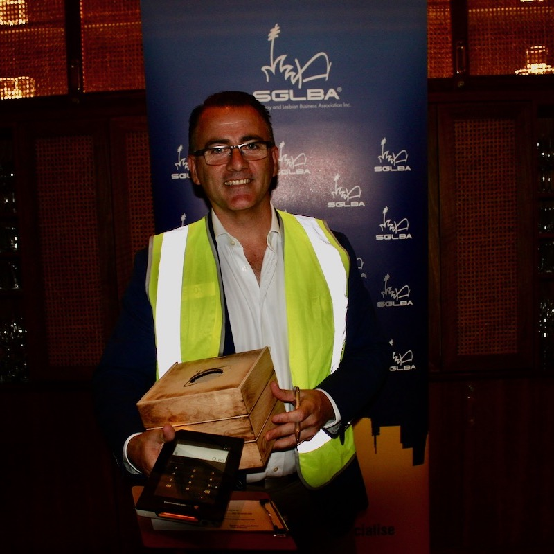 SGLBA Partnership Director, Scott Duncombe roamed the room on the night with Albert in one hand for electronic donations