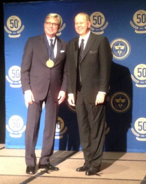 Don Moen accepts Lifetime Global Achievement Award from ORU President William M. Wilson.  For high-res image, click here. // Photo courtesy Nelon PR