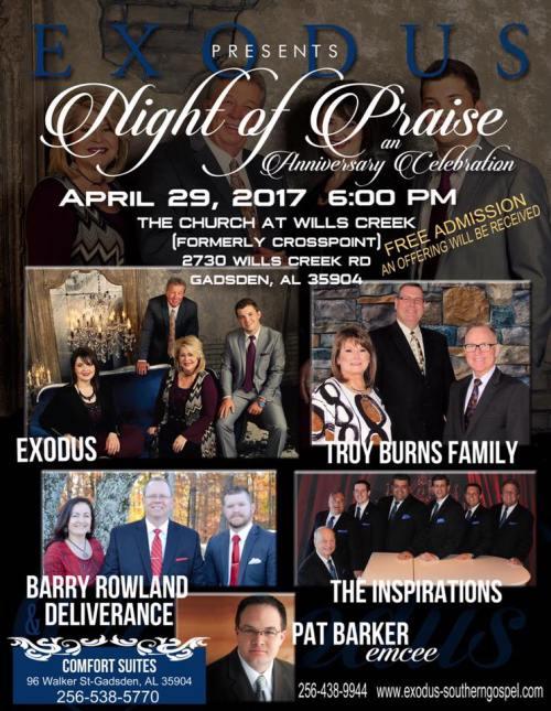 "Exodus Announces ""A Night of Praise"" an Anniversary Celebration, in Gadsden, Alabama"