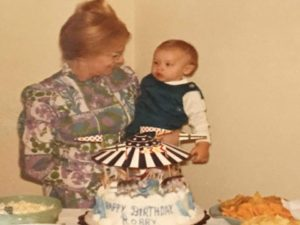 Mrs. Shirley and her son, Rob Patz on his first birthday