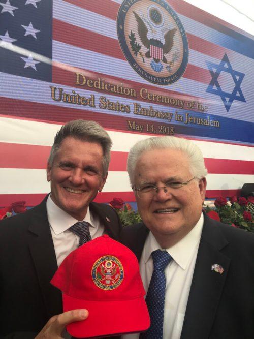 Pastor John Hagee (r) and TBN president Matt Crouch at the U.S. Embassy in Jerusalem