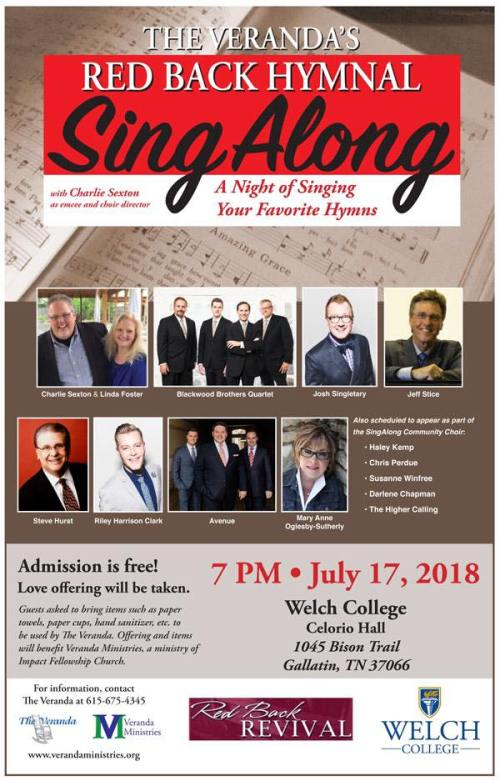 """The Veranda's Red Back Hymnal Sing Along"" to be held July 17 at Welch College"