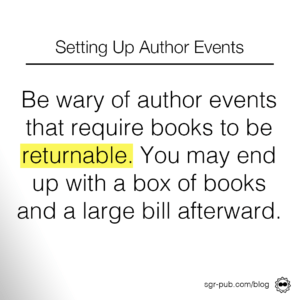 Setting up author events: be wary of events that require books to be returnable