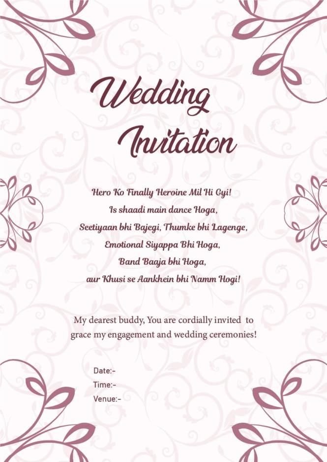Wedding Invitation Wordings For Friends Invite Quotes