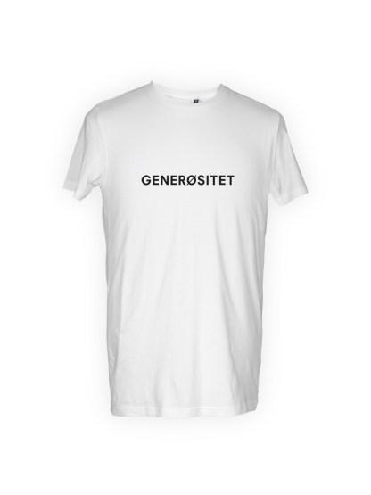 hvid herre T-shirt med tryk - generoesitet