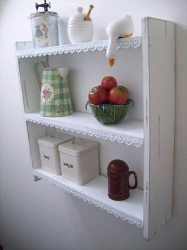 60cm Shabby Chic Shelves With Lace Trim Shelf Bookcase Furniture Kitchen Bedroom Bathroom