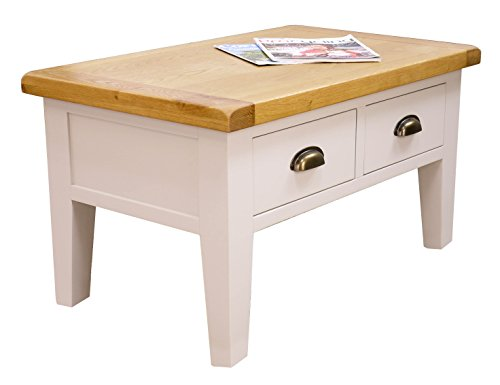arklow painted oak dovetail grey coffee table with drawers living room storage