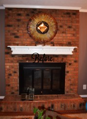 Chalked Painted Brick Fireplace