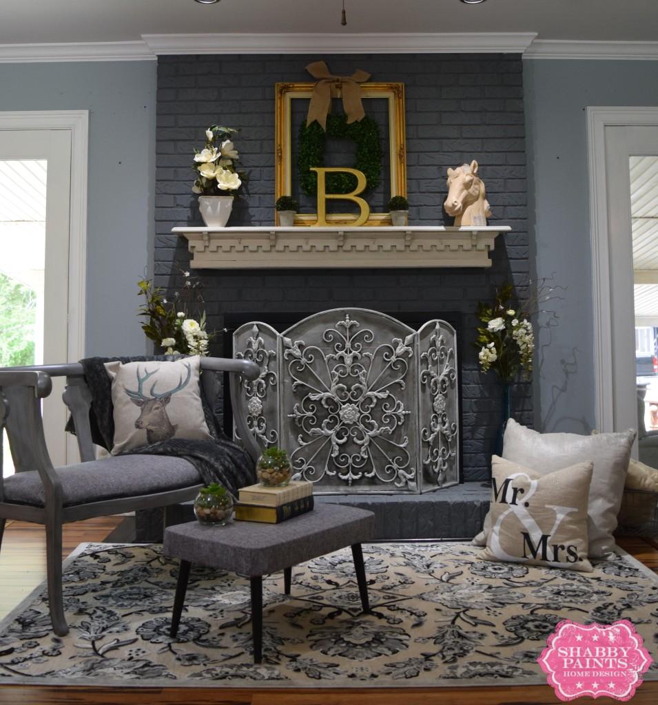 Painted Brick Fireplace Farmhouse Inspiration - Shabby Paints on Brick Painting Ideas  id=29291