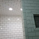 Subway tile shower black grout dark charcoal