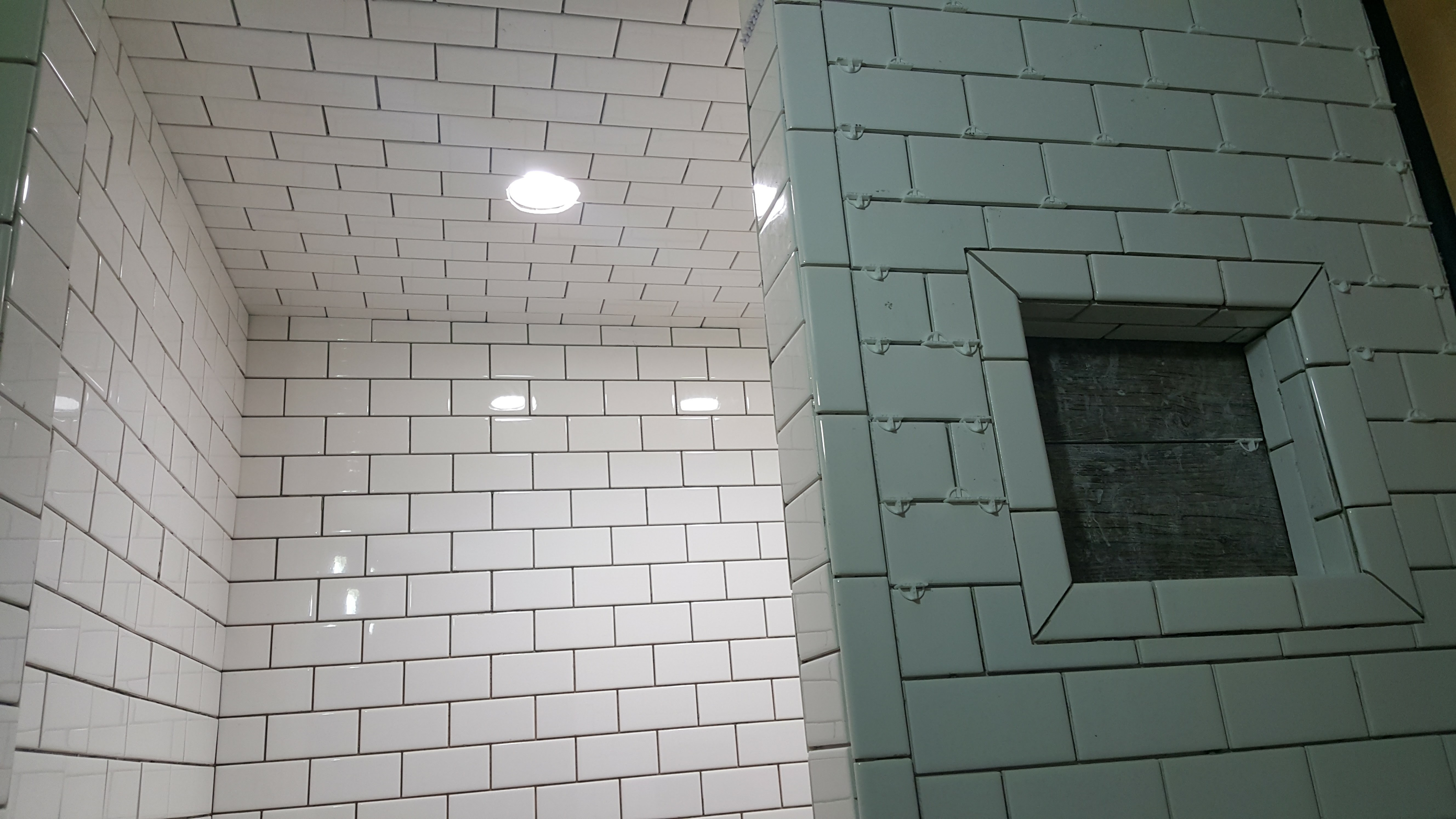 Subway tile shower black grout dark charcoal Shabby Paints