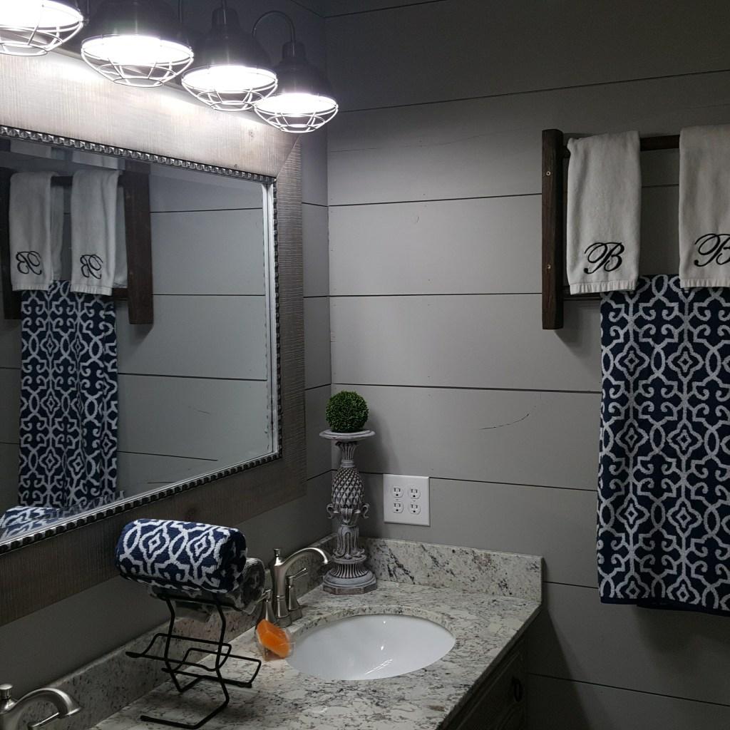Farmhouse Bathroom makeover. Shiplap and Subway tile