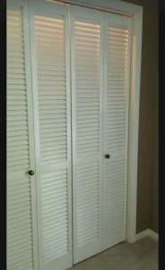 Before-Farmhouse inspired Bi-Fold Closet door makeover.