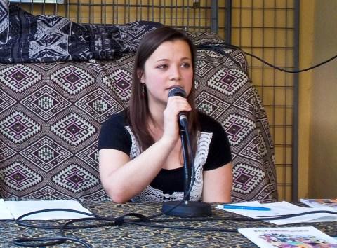 Kathrin Kaisinger (Blickwinkel) beim Sonntags-Matinee der KritLit 2017. Foto: Shabka, CC BY-NC-ND 3.0.