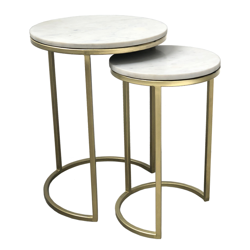 como marble side table nest brass