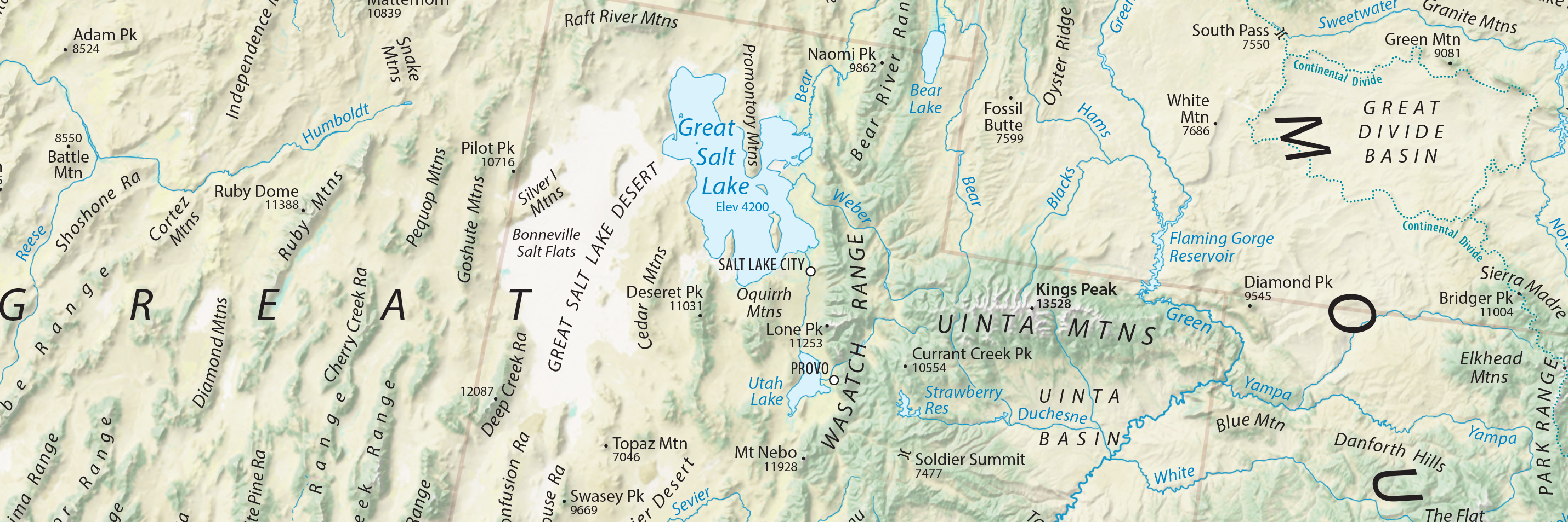 Physical Features Map Of The Contiguous Us
