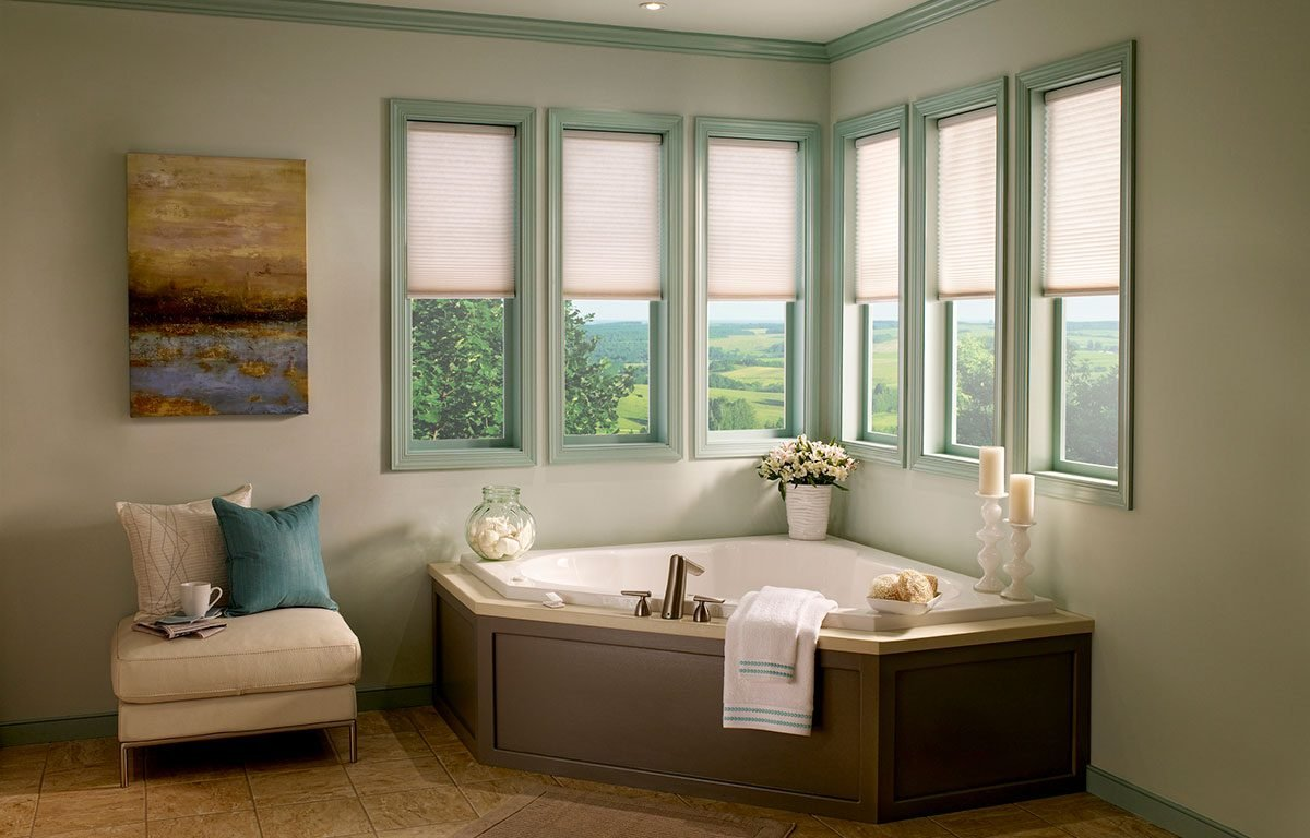 White Pleated Blinds in Bath Cell Preset
