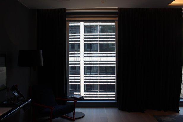 Lutron dark blue lined blackout curtains