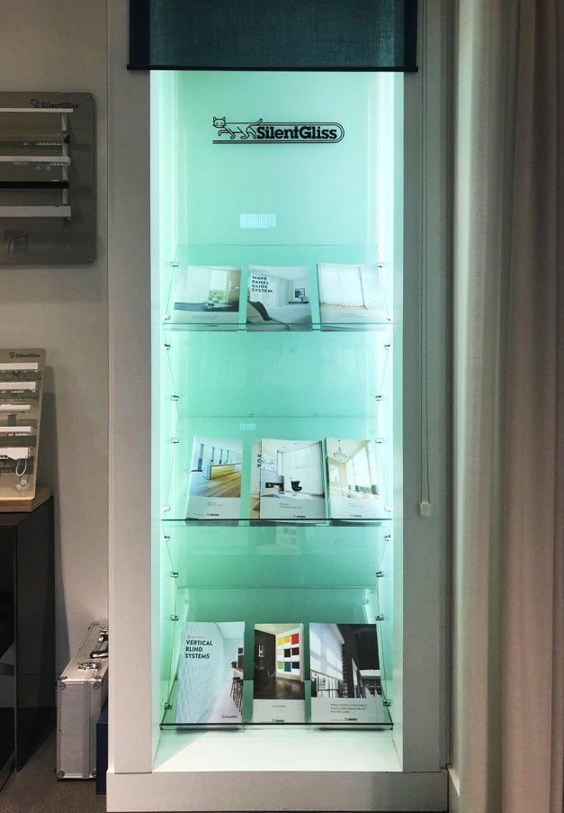 Silent Gliss Business Centre London - Shelf with product guides