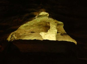 Various alcoves in the walls are lit to highlight different shaped features.