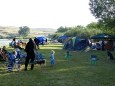 Tent campers along the river