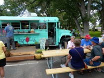 Catching a quick lunch with other caravaners at local food truck
