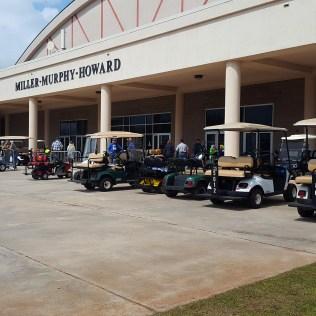 Sooo many golf carts!! Shopping at the vendor hall