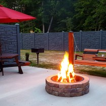Awesome fire pit and swing at the premium sites