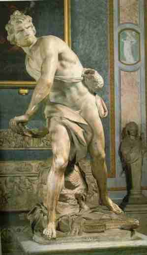 It was Cardinal Scipione Borghese who commissioned the statue of David, confronting the giant Goliath and armed only with a sling, executed between 1623 and 1624 by twenty - five - year - old Gian Lorenzo Bernini. The youth 's tense facial expression is modelled on Bernini himself as he struggle with his tools to work the hard marble....