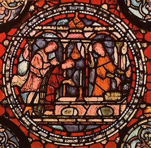 From the Corona, this 13th-century glass shows pilgrims praying at the old shrine of St. Thomas in the crypt, before his relics were translated to the much more opulent shrine in the Trinity Chapel (1220).     Two events occurring in 1170 and 1174 laid the foundations of what today is regarded as one of the most important stained glass collections of the late 12th century in the world....