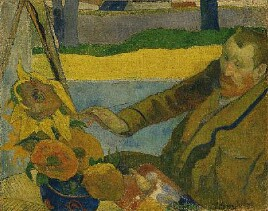Gaugin_Portrait_of_Vincent_van_Gogh_Painting_Sunflowers_Arles_1888