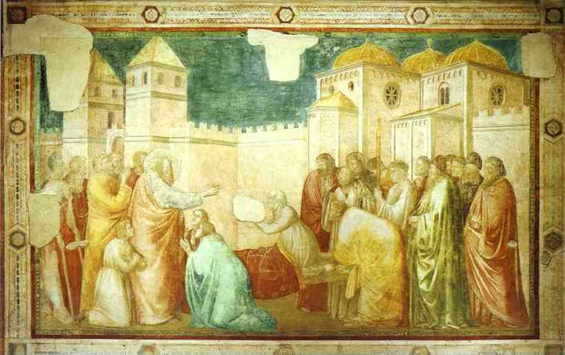 Jacobus de Voraigne's Legenda Aurea   provided   the   textual   source   for   Giotto's Raising of Drusiana. John the Evangelist  is  entering   the   city  of  Ephesus  in  Asia Minor,  when  he  meets   the   funeral   procession  of  Drusiana, a  woman   who, in  her   lifetime   had   followed   John 's  own   example.  John  is  told  by  members  of  the   funeral   party   that   Drusiana   had   longed  to  set   eyes  on  him   again   before   her   death....