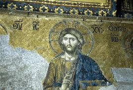 Detail of the Deesis Mosaic  in  the   museum  of  Hagia Sophia  in  Istanbul,  Turkey.  Dating   from   the   early  14, it  depicts   the   figure  of  Christ  (shown   here)  flanked  by  the   Virgin Mary   and   John the Baptist.