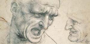 Studies   for   the   Heads of Two Soldiers  in  the  Battle of Anghiari (detail).  Leonardo da Vinci  (Vinci, 1452 — Cloux, 1519).  Charcoal, or  soft   black   chalk;  some   traces  of  red   chalk  on  left; 192 x 188 mm (7  9 / 16  x 7  7/16  in.).  Sz�pm�v�szeti M�zeum,  Budapest  1775. (Cat. no. 91).
