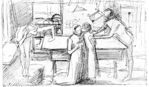 Millais Christ in the House of His Parents_1850_drawing