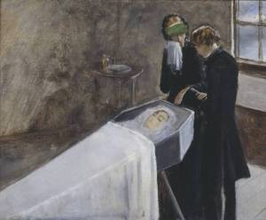Millais The Artist Attending the Mourning of a_Young_Girl_c1847