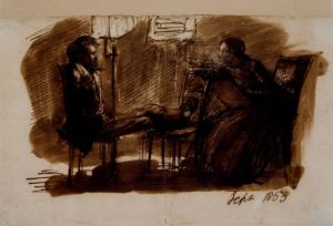 Rossetti sitting to Lizzie Siddal
