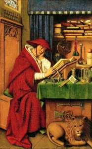 An   inventory  of 1492  records   this   painting   hanging  in  the   scrittoio  of  Lorenzo  il  Magnifico.  It   was   painted   for   Cardinal Albergati  (died  1443),  who  is  identifed  in  the   inscription  on  the   letter  on  the   table. The   books   and   other   objects   relate   both  to  the   saint 's  intellectual   pursuits   and  to  religious   symbolism....