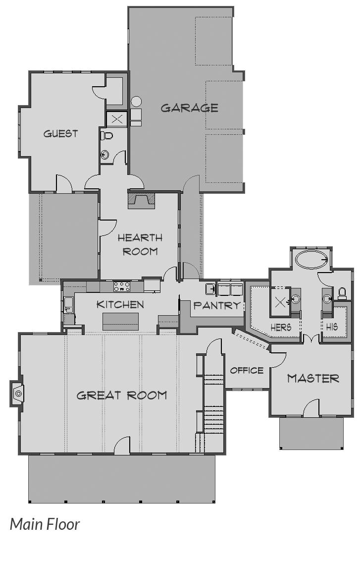 Shaffer Inc. Modern Country Custom Homes Main Floor