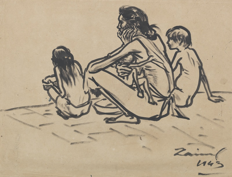Famine Sketch. 1943. Black ink on paper. 52cm x 68.5 cm. Bangladesh National Museum Collection