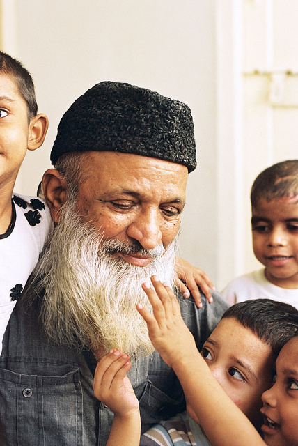 Pakistani philanthropist Abdul Sattar Edhi at the Edhi Centre in Clifton, Karachi.