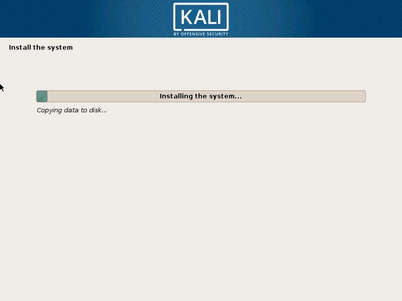Kali Linux - Installation begins