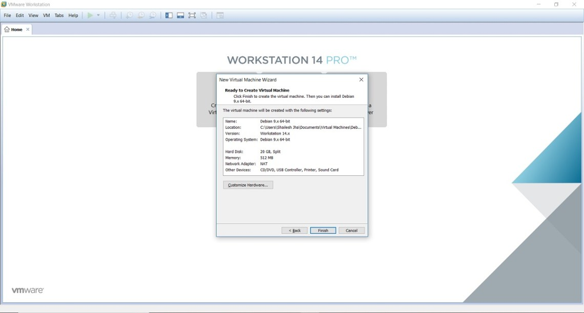 Kali Linux Installation - New Virtual machine Wizard - Ready to create Virtual machine