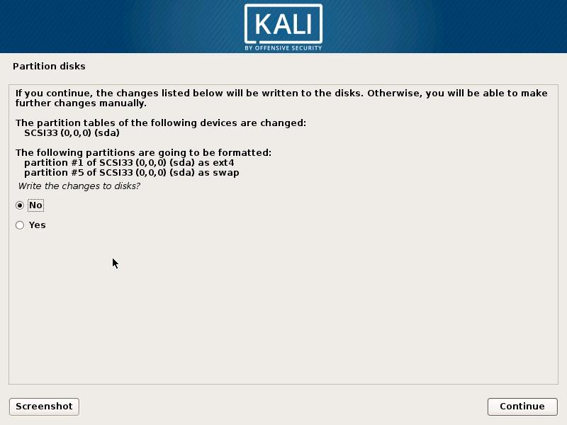 Install Kali Linux 2018 in VMware Workstation 14- Disk Partition Confirmation Screenshot