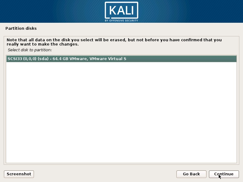 Install Kali Linux 2018 in VMware Workstation 14- Select Disk to Partition Screenshot